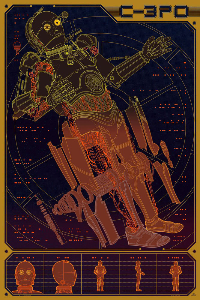 Star Wars - C3po by Georges Lucas (24 x 36 in)