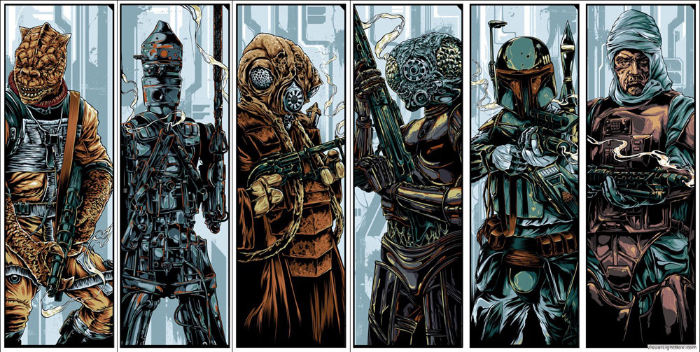 Star Wars - The Bounty Hunters (set Of 6 Prints) par Georges Lucas (30 x 90 cm)